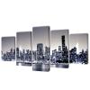 vidaXL Vászon falikép szett monokróm new york-i Skyline 100 x 50 cm