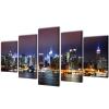 vidaXL Vászon falikép szett színes new york-i Skyline 100 x 50 cm