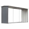 vidaXL vidaXL szürke horganyzott acél kerti tűzifatároló 330 x 92 x 153 cm