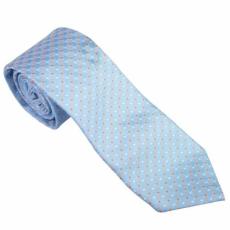 Világoskék színű, fehér - narancssárga apró pöttyös nyakkendő