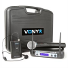 Vonyx Vonyx WM512C, 2 csatornás VHF adó rendszer, övre tehető adó, kijelző
