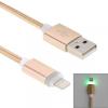Woven töltő és szinchronizáló kábel lightning konektorral és világító indikációval Apple iPhone - 1m - arany