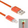 Woven töltő és szinchronizáló kábel lightning konektorral és világító indikációval Apple iPhone - 1m - narancssárga
