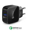 XE.H8QPN.001 Qualcomm Quick Charger 3.0 USB tablet és telefon gyors töltő hálózati tápegység 220V fast charger - fekete 5V 2.5A/ 9V 2.5A/ 12V 2A