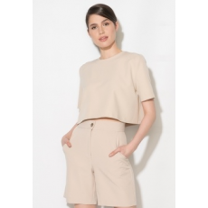 Zee Lane Collection Crop Fazonú Bézs Blúz 38 (ZL17S-5005-BEIGE-38)