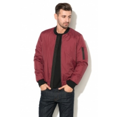 Zee Lane Denim , Bélelt Bomber Kabát, Bordó, M (ZLD18F-3019-RED-WINE-BLACK-M)