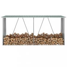 Zöld horganyzott acél kerti tűzifatároló 330 x 84 x 152 cm hűtés, fűtés szerelvény