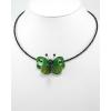 Zöld szitakötő nyaklánc kagylóhéjjal, ACHÁT kővel