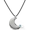 ZOPPINI - ZO-DARK, Hold alakú nemesacél függő, pamutszálon